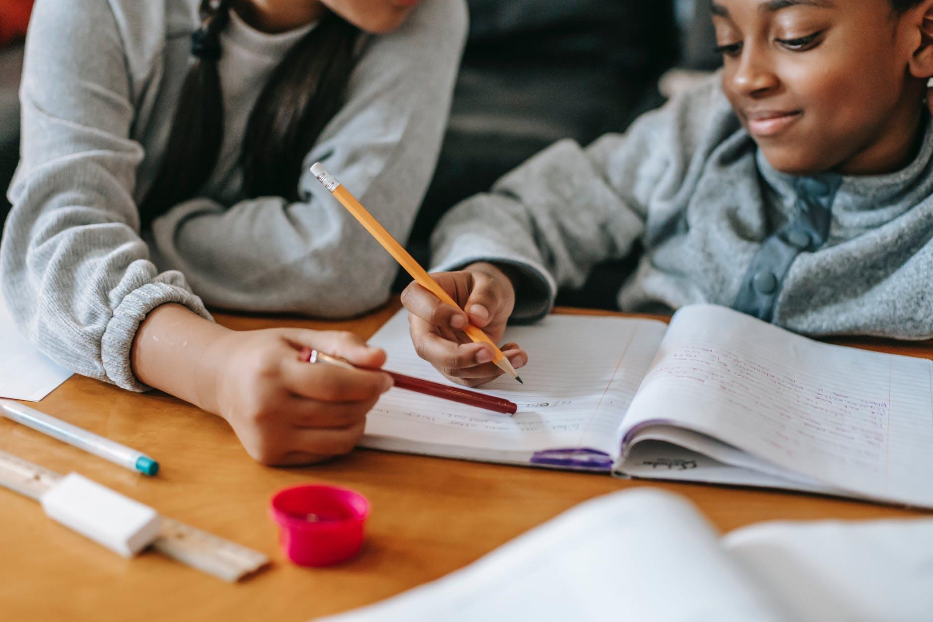 crop kids doing homework together