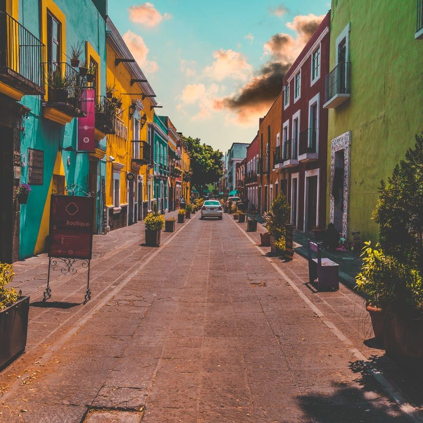 colorful painted buildings;