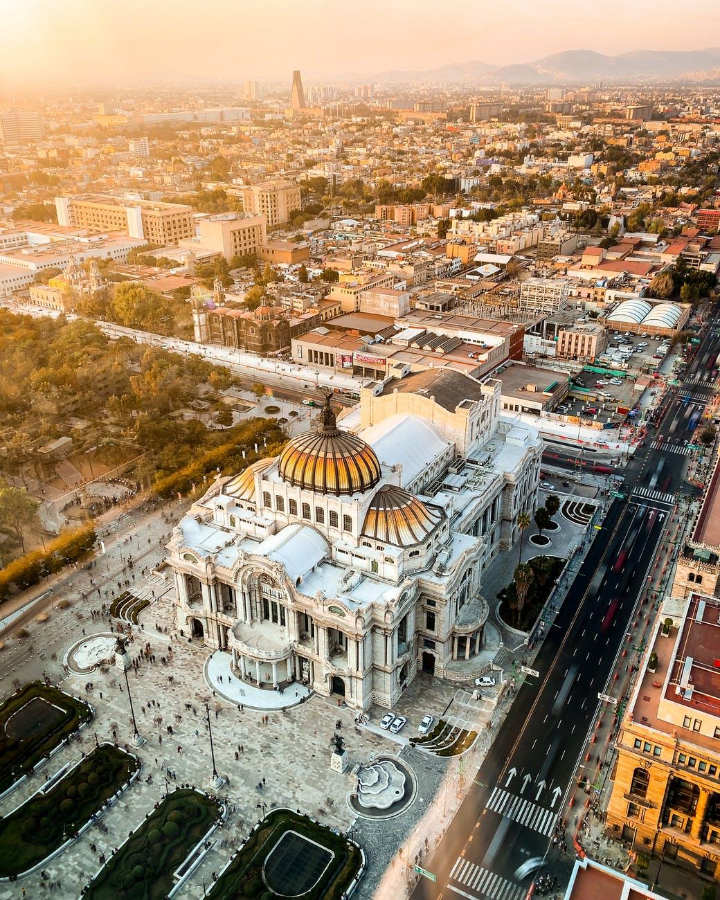aerial photo of buildings; author spotlight with Ofelia Montelongo